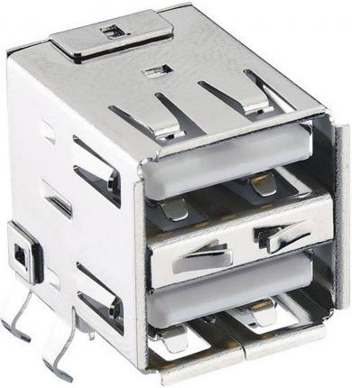 Conector USB A 2.0, soclu dublu, în unghi, 2410 03 Lumberg