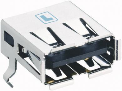 Conector USB A 2.0, soclu, în unghi, SMT, 2410 06 Lumberg