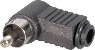 Mufă tată, în unghi RCA Ø cablu 4,5 mm, cu protecţie la îndoire, negru