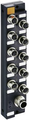 Cutie de distribuţie pasivă senzori/actuatoare M8 cu filet metalic, 10 porturi, Lumberg Automation ASBSM 10/LED3 65348