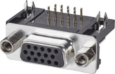 Conector D-SUB mamă, 15 pini, 3 rânduri, în unghi 90°, terminale lipire, A-HDF 15 A-KG/T Assmann