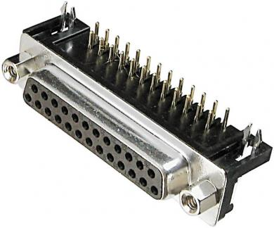 Conector D-SUB mamă, 9 pini, în unghi 90°, cu terminale lipire, A-DF 25 A/KG-T2 Assmann