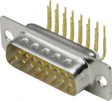Conector D-SUB tată, 15 pini, în unghi 90°, cu terminale lipire, 10120257 BKL Electronic