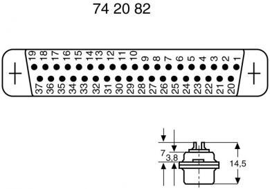 Conector D-SUB mamă, 50 pini, cu terminale lipire