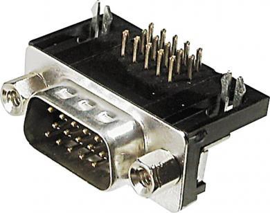 Conector D-SUB tată, 15 pini, 3 rânduri, în unghi 90°, terminale lipire, A-HDS 15 A-KG/T Assmann