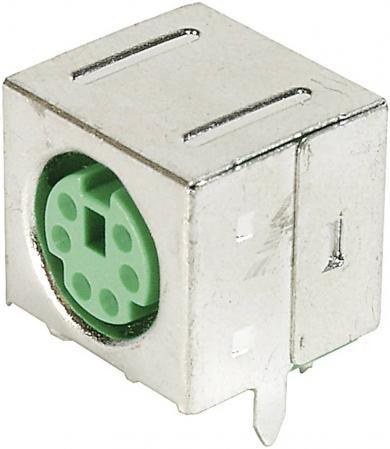 Soclu mini-DIN pentru montare, mamă, ecranat, 6 pini, verde