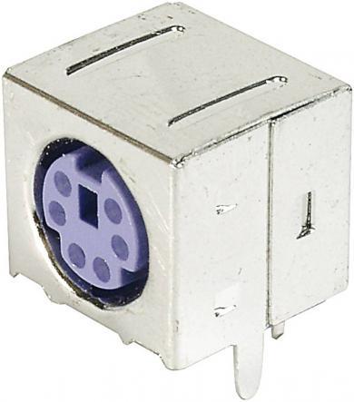 Soclu mini-DIN pentru montare, mamă, ecranat, 6 pini, violet