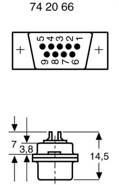 Conector D-SUB tată, 9 pini, cu terminale lipire