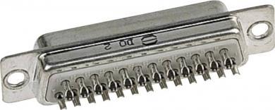 Conector D-SUB tată Harting, contacte şi adâncituri întoarse în gulere de protecţie metalice, 25 pini