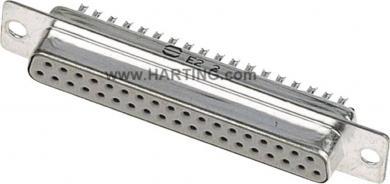 Conector D-SUB mamă Harting, contacte şi adâncituri întoarse în gulere de protecţie metalice, 15 pini