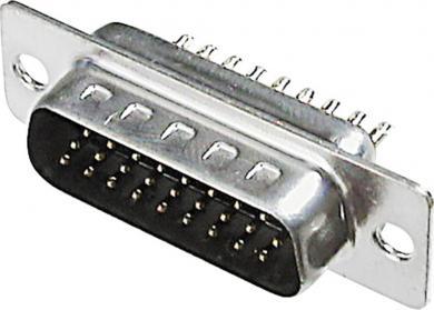 Conector D-SUB tată, 15 pini, 3 rânduri, cu terminale lipire, A-HDS 15 LL/Z Assmann