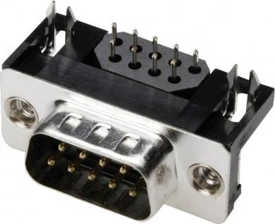 Conector D-SUB tată, 9 pini, în unghi 90°, cu filtru EMI, terminale lipire, A-DS 09 A/KG-F Assmann