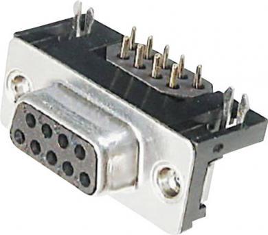 Conector D-SUB mamă, 9 pini, în unghi 90°, cu filtru EMI, terminale lipire, A-DF 09 A/KG-F Assmann