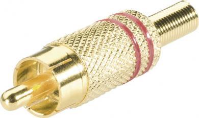 Mufă RCA, Ø cablu 4 mm, cu protecţie la îndoire şi inele colorate, suprafaţă aurită, roşu