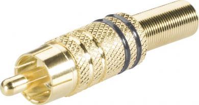 Mufă RCA, Ø cablu 6 mm, cu protecţie la îndoire şi inele colorate, suprafaţă aurită, negru