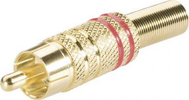 Mufă RCA, Ø cablu 6 mm, cu protecţie la îndoire şi inele colorate, suprafaţă aurită, roşu