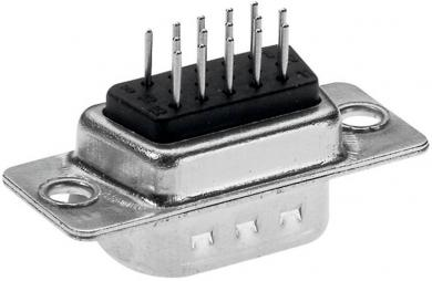 Conector D-SUB High Density 180˚ lipire, Provertha, tată, contacte întoarse, 15 pini