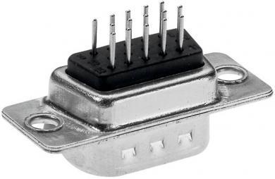 Conector D-SUB High Density 180˚ lipire, Provertha, mamă, contacte întoarse, 15 pini