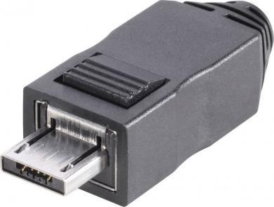 Mufă microUSB 2.0, 5 pini, mufă tip A, dreaptă, 5 pini