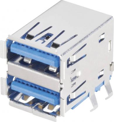 Conector USB A 3.0, soclu dublu tip A, 9 pini, în unghi, BKL Electronic
