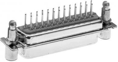 Conector D-SUB Provertha mamă, cu cu contacte întoarse, 25 pini, versiune Combiblock 180˚ pentru lipire