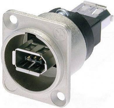 Conector soclu IEEE 1394, 6 pini, carcasă D, culoare: nichel