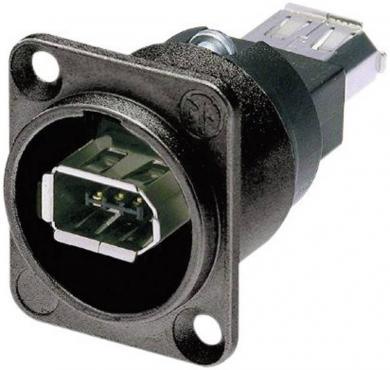 Conector soclu IEEE 1394, 6 pini, carcasă D, culoare: negru