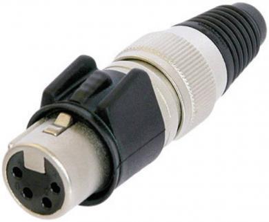 Conector XLR seria X-HD, mamă, drept, 4 pini, culoare pţel, suprafaţa de contact aur