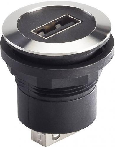 Conector soclu USB 2.0, material: oţel nobil, mufă USB tip A frontal, mufă USB tip A în spate, IP 65