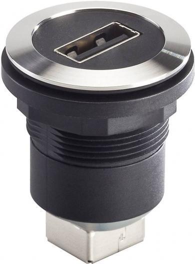 Conector soclu USB 2.0, material: oţel nobil, mufă USB tip A frontal, mufă USB tip B în spate, IP 65