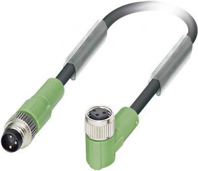 Cablu senzor/actuator, 3 pini, mufă mamă M8 în unghi-mufă tată M8, 1,5 m, Phoenix Contact SAC-3P-M 8MS/1,5-PUR/M 8FR