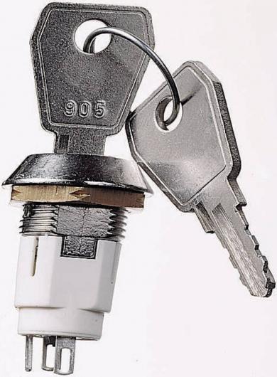 Întrerupător cu cheie 50 V/DC 3 A, unghi de comutare 60˚, 2 chei per întrerupător, 2 contacte de comutare, cheia poate fi scoasă numai în poziţia off