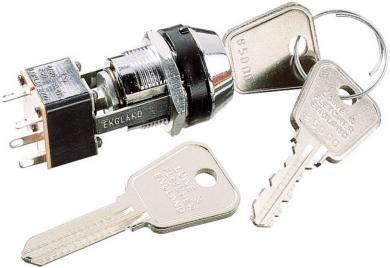 Întrerupător cu cheie, 250 V/AC / 3 A, 2 x ON, Ø  montare 19 mm, 2 chei per întrerupător, cheia poate fi scoasă în ambele poziţii