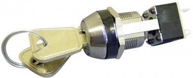 Întrerupător cu cheie, 250 V/AC / 3 A, 2 x OFF/(ON), Ø  montare 19 mm, 2 chei per întrerupător, cheia poate fi scoasă numai în poziţia off