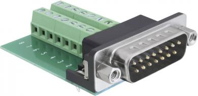 Adaptor D-SUB serial 15 pini la bloc de conexiuni 16 pini, 180°, Delock