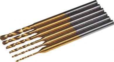 Set 6 mini-burghie elicoidale din oţel rapid Super TiN, Ø 0.6/0.8/1/1.3/1.5/2 mm