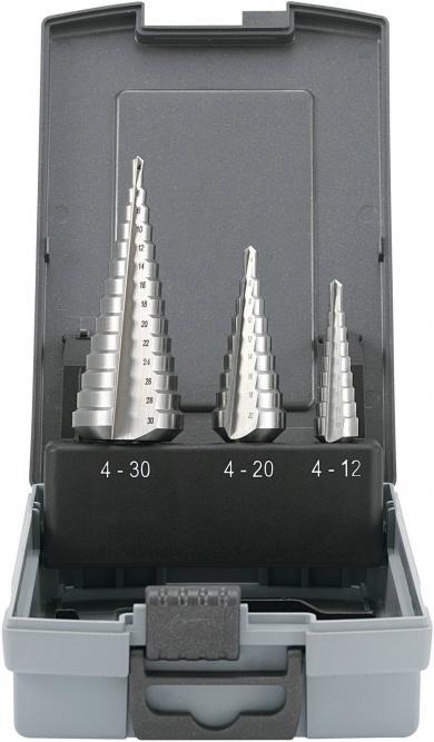 Set burghie în trepte, 3 buc., Ø 4-12 / 4-20 / 4-30 mm, Toolcraft