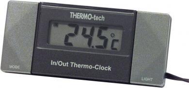 Termometru de interior şi exterior cu ceas Herbert Richter