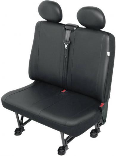 Husă scaun dublu autovehicule de transport, piele sintetică, negru