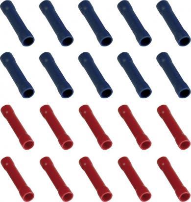 Set conectori îmbinare cap la cap 0,25 la 2,5 mm², PVC, roşu, albastru, 20 buc.