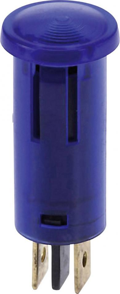 Lampă de control cu bec incandescent integrat 12 V, 0.7 W, Ø orificiu de montare 12,5 mm, albastru