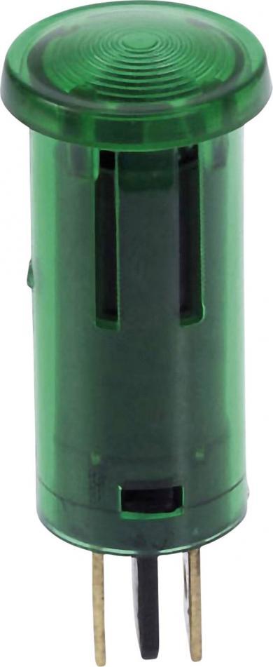 Lampă de control cu bec incandescent integrat 12 V, 0.7 W, Ø orificiu de montare 12,5 mm, verde