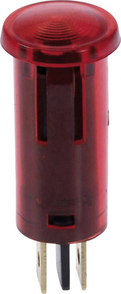 Lampă de control cu bec incandescent integrat 12 V, 0.7 W, Ø orificiu de montare 12,5 mm, roşu