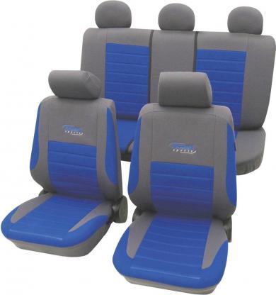 Set huse universale scaun auto, albastru, 11 piese, Cartrend Active