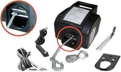 Troliu electric 12 V 907 kg cu telecomandă cu cablu şi wireless
