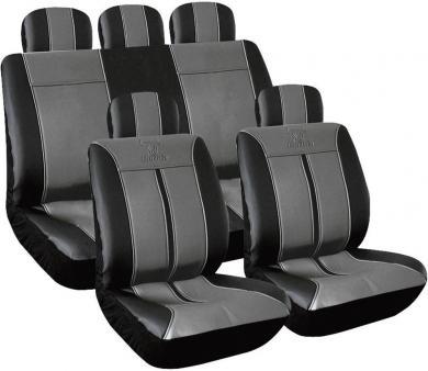Set huse scaun auto, piele sintetică, negru, gri, 11 piese, Eufab Buffalo