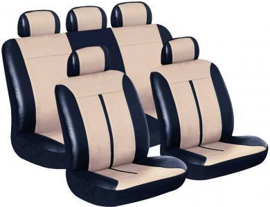 Set huse scaun auto, piele sintetică, negru, bej, 11 piese, Eufab Buffalo