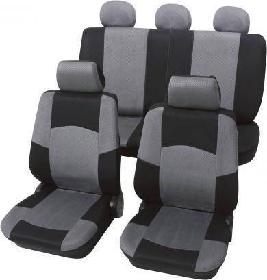 Set huse scaun auto, poliester, negru, gri, 17 piese, Petex Classic