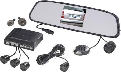 Sistem video wireless de asistenţă marşarier cu ecran TFT integrat în oglinda retrovizoare şi 4 senzori parcare